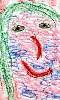 Un dessin naïf du visage d'une jeune femme.