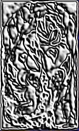 Une image abstraite et numérique d'un dragon.