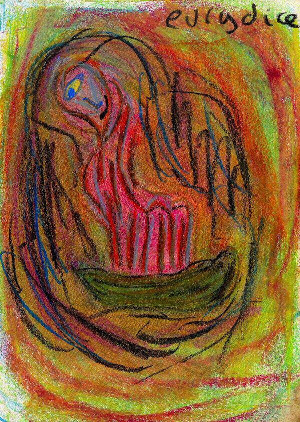Eurydice, un dessin à la pastel sur la mythologie.