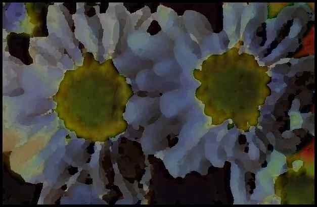 Dessin numérique de marguerites bleues - Des fleurs.