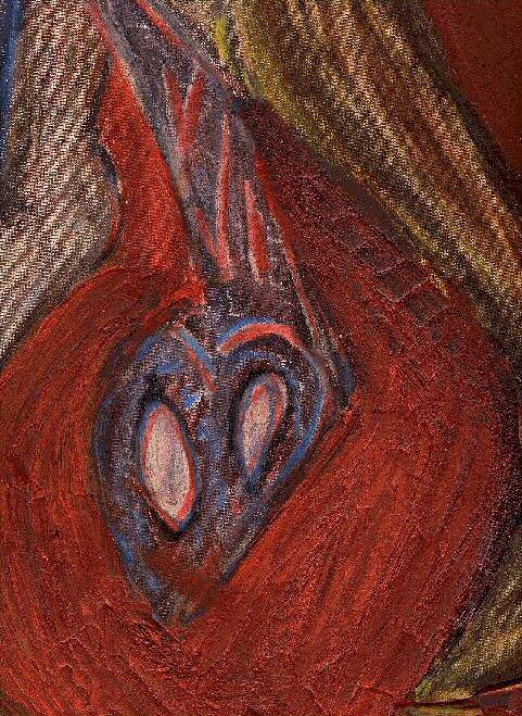 Détail sur une peinture : Un viol - Un coeur à cran d'arr&ecirct