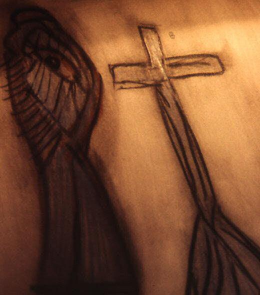 Un dessin d'une croix et d'une burka - Le calvaire.